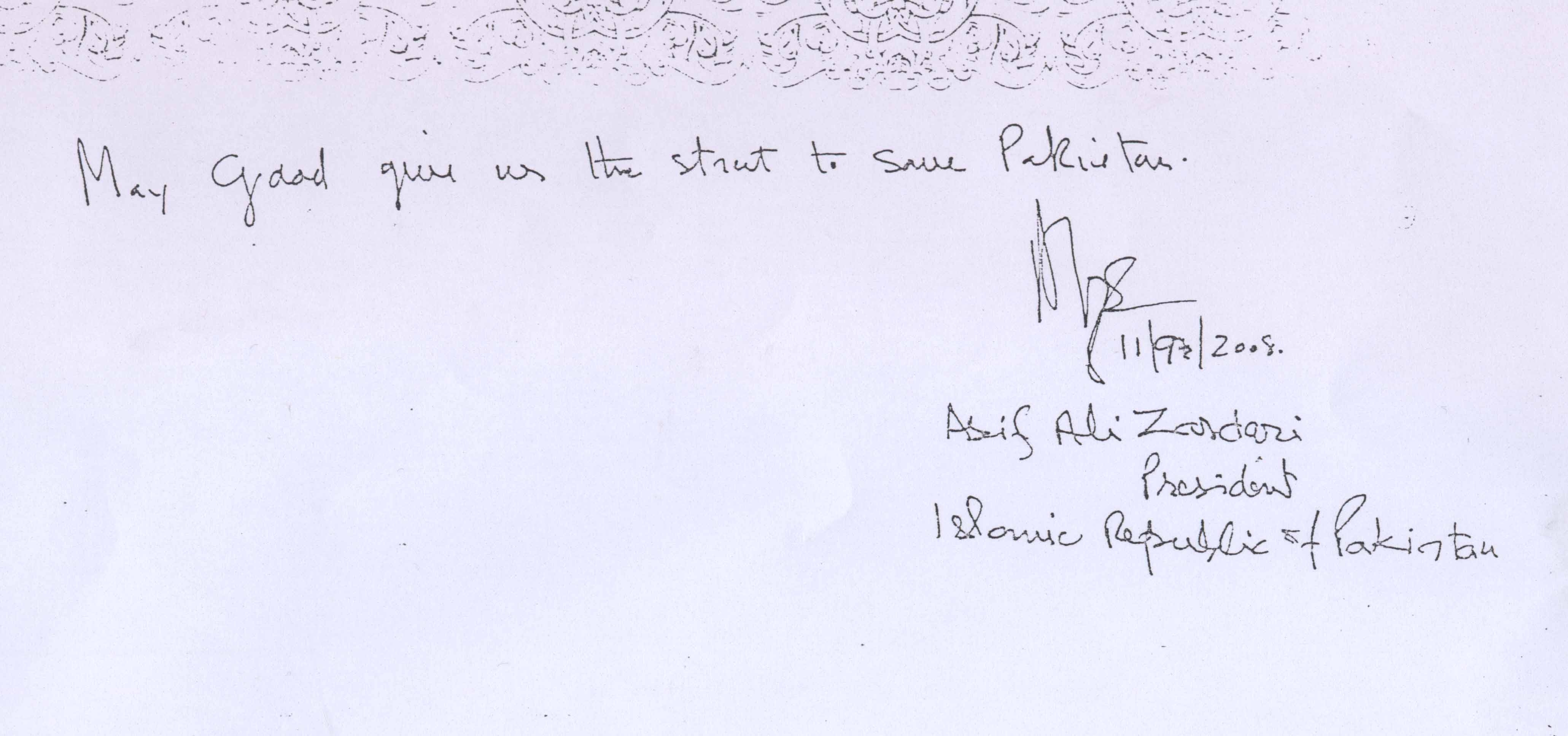 On Sept 11/ 2008, President visited Quaid's tomb and this is what he