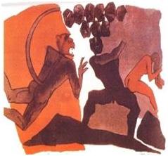 Naked Hanuman and Sita