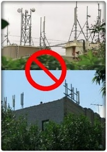 Towers atop residential buildings, schools, or  hospitals are particularly more harmful to people.
