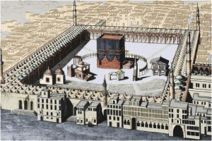 A 19th-century engraving of the Kaaba, the symbolic focus of Muslims, at the Sacred Mosque in Mecca.
