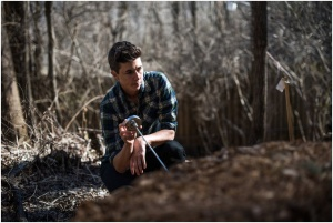 Katrina Spade, the founder and director of the Urban Death Project, monitoring the temperature of a mound of wood chips that contains a human body