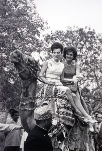 Jacqueline Kennedy on a camel ride with her younger sister Lee Radziwill on March 25, 1962, Karachi.