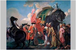 Turning point A victorious Robert Clive with Mir Jafar after the Battle of Plassey, 1757