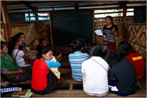 Displaced Lumads in a makeshift classroom at a church in Davao City