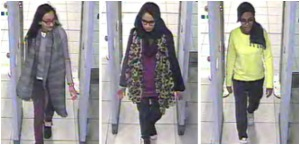 Images from recordings at Gatwick Airport show, from left, Khadiza Sultana, Shamima Begum and Amira Abase passing through security before flying to Turkey.